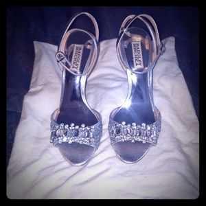 Badgley Mischka sliver bling shoes